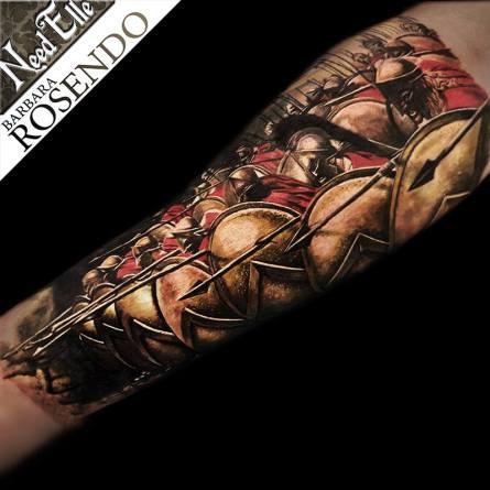 300, spartans, leonidas, color, warrior, barbara rosendo, tatouage, realiste, realistic, tattoo, 3d, lille, paris, la bête humaine, need elle