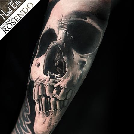 skull, barbara rosendo, tatouage, realiste, realistic, tattoo, 3d, lille, paris, la bête humaine, need elle