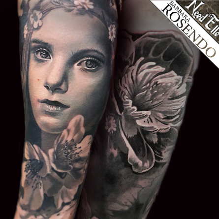 portrait, ellébore, barbara rosendo, tatouage, realiste, realistic, tattoo, 3d, lille, paris, la bête humaine, need elle