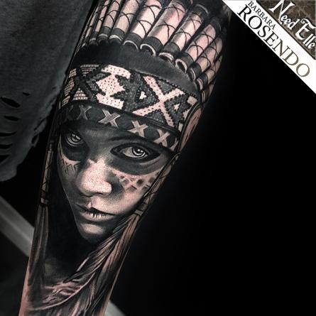 indian, amerindian, native american, portrait, barbara rosendo, tatouage, realiste, realistic, tattoo, 3d, lille, paris, la bête humaine, need elle