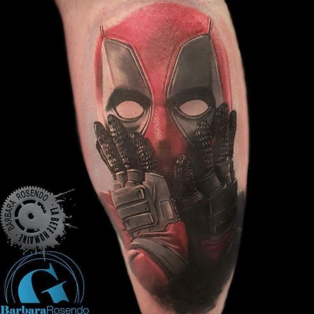 deadpool, ryan reynolds, marvel, color, barbara rosendo, tatouage, realiste, realistic, tattoo, 3d, lille, paris, la bête humaine, need elle
