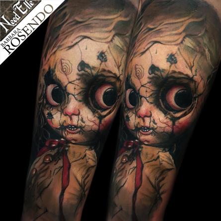 doll, tattoo, barbara rosendo, need elle, realiste, realistic, julien martinez, poupée, gore, tatouage
