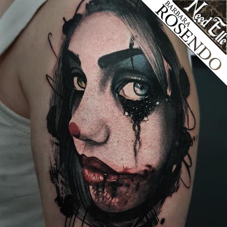 portrait, color tattoo, couleurs, barbara rosendo, tatouage, realiste, realistic, tattoo, 3d, lille, paris, la bête humaine, need elle