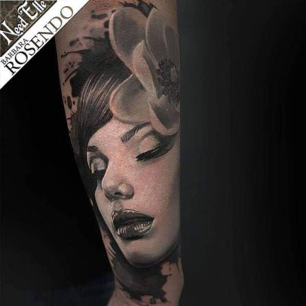 portrait, grey, black, barbara rosendo, tatouage, realiste, realistic, tattoo, 3d, lille, paris, la bête humaine, need elle
