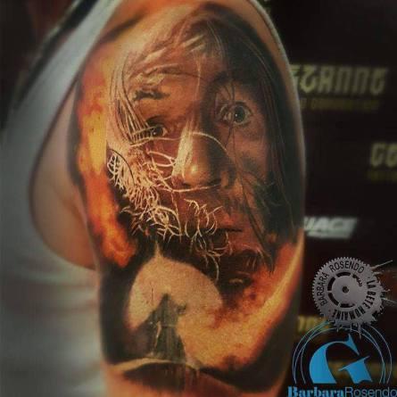 lord of the rings, gandalf, color, barbara rosendo, tatouage, realiste, realistic, tattoo, 3d, lille, paris, la bête humaine, need elle, portrait