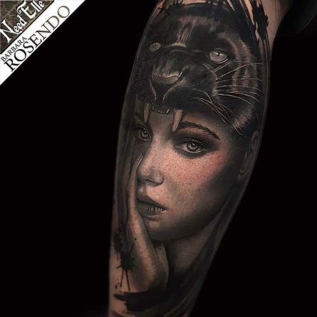 portrait, woman, black, grey, barbara rosendo, tatouage, realiste, realistic, tattoo, 3d, lille, paris, la bête humaine, need elle