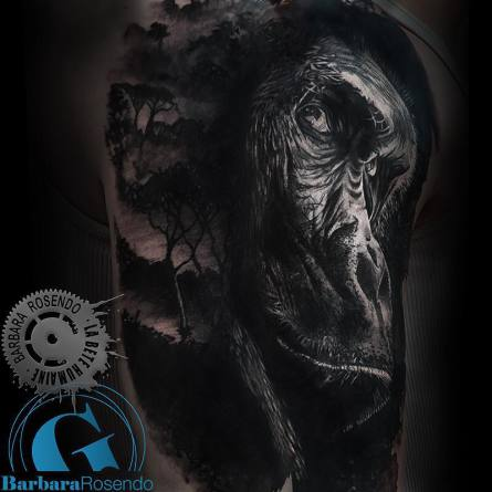 gorille,gorilla,portrait, barbara rosendo, tatouage, realiste, realistic, tattoo, 3d, lille, paris, la bête humaine, need elle