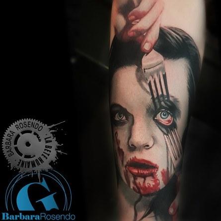 portrait,gore, barbara rosendo, tatouage, realiste, realistic, tattoo, 3d, lille, paris, la bête humaine, need elle