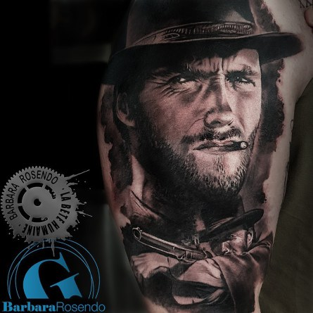 clint eastwood,portrait,western, barbara rosendo, tatouage, realiste, realistic, tattoo, 3d, lille, paris, la bête humaine, need elle