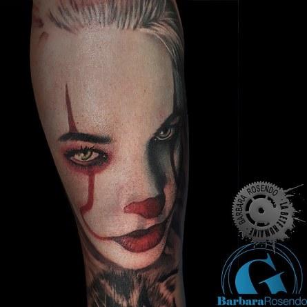 color, clown, pennywise, barbara rosendo, tatouage, realiste, realistic, tattoo, 3d, lille, paris, la bête humaine, need elle