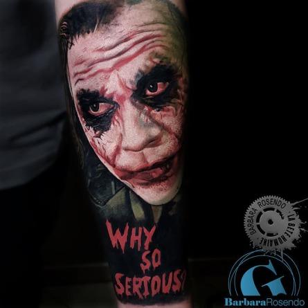 joker,heath ledger,batman, color, barbara rosendo, tatouage, realiste, realistic, tattoo, 3d, lille, paris, la bête humaine, need elle