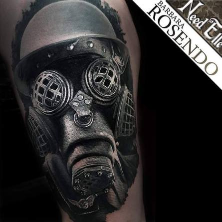 masque à gaz, steampunk, barbara rosendo, tatouage, realiste, realistic, tattoo, 3d, lille, paris, la bête humaine, need elle