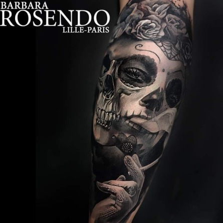 realistic tattoo, tatouage réaliste, skull, tattoo portrait, barbara rosendo, lille, paris